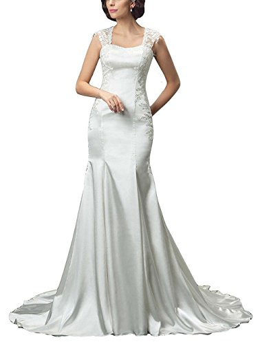 M Bridal Women's Lace Appliques Cap Sleeve Strapless Long Mermaid Wedding Dress White Size 6