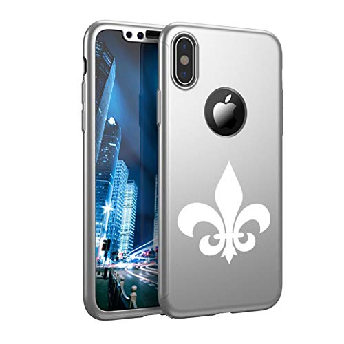 (360° Full Body Thin Slim Hard Case Cover + Tempered Glass Screen Protector for Apple iPhone Fleur-De-Lis (Silver, for Apple iPhone XR) )