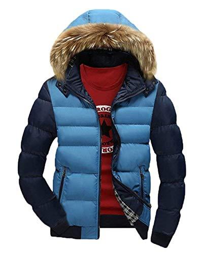 Vintage Blau Da Giacca Con Windproof Cappuccio Pilot Winter Jacket Esterno Coat Uomo Parka n4x7pCxw0q