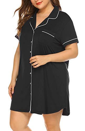 Womens Plus Size Nightshirt Short Sleeves Pajama Button Down Top Boyfriend Shirt Dress Nightie - Plus Nightshirts Size Womens