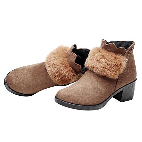 Hzjundasi Women Fur Lined Mid High Block Heel Ankle Boots Brown mkuUa