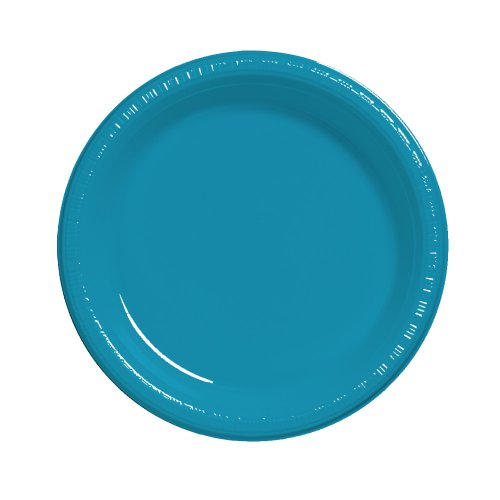Creative Converting (28313111) Touch of Color 20 Count Plastic Lunch Plates, Turquoise