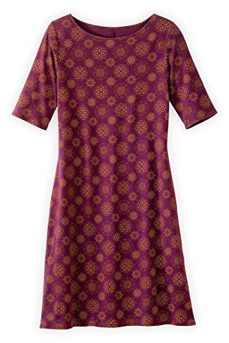 Fair Indigo Fair Trade Organic Boat Neck Dress (L, Boysenberry Mandala)