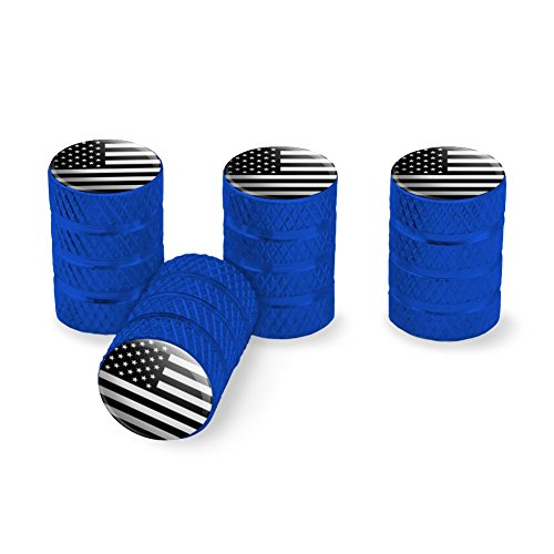 Subdued American USA Flag Black White Military Tactical Tire Rim Wheel Aluminum Valve Stem Caps - Blue