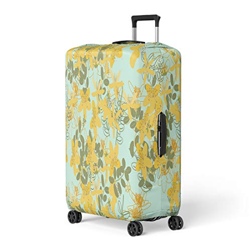 Semtomn Luggage Cover Green Floral Retro Vintage St John Wort Latin Hypericum Travel Suitcase Cover Protector Baggage Case Fits 18-22 Inch