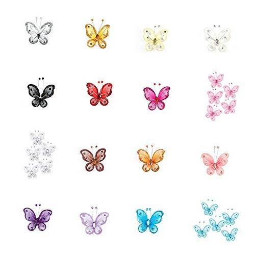 Mikash 60/120-PACK 2 Organza Nylon MESH Butterflies with Wire Glitter Rhinestones | Model WDDNGDCRTN - 28034 | Multicolor 60 ()
