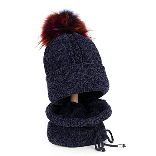 Adult Winter Cap with Scarf Raccoon Fur Ball Pom Poms Hat Knitted Cap Hat Skullies Women ()