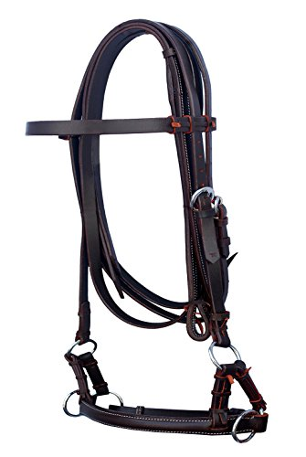 ProRider ENGLISH OR WESTERN HORSE BROWN LEATHER BITLESS BRIDLE SIDEPULL REINS TACK (Brown Bridle)