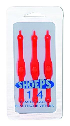 Schoeps - cordones elásticos para los zapatos, Negro (Negro) Rojo