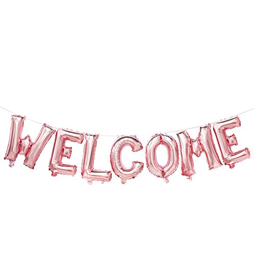 Welcome Balloons Letters   Rose Gold Welcome Banner for Party   Wedding, Birthday, Bridal Shower, Bachelorette Party Decorations   -