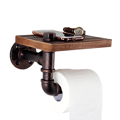 GoYonder Toilet Paper Holders, Industrial Iron Pipe Toilet Tissue Roll holder with Brown Pine Wood Shelf (Bronze Finish) Pine Shelf Kit