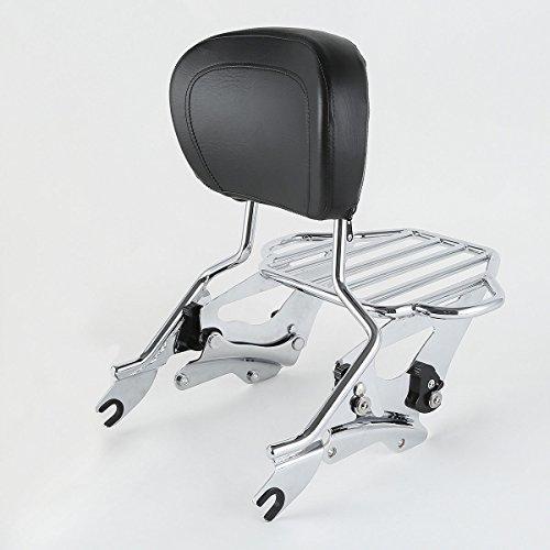 XFMT Sissy Bar Luggage Rack Backrest & Docking Kit Compatible with Harley Road King 14-19 2018 ()