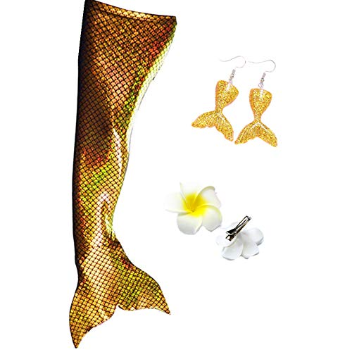 Kuisen Adult Women Swimmable Mermaid Tail (with no Monofin) Kids Girls Cos Gift (Adult Medium, Sparkle -