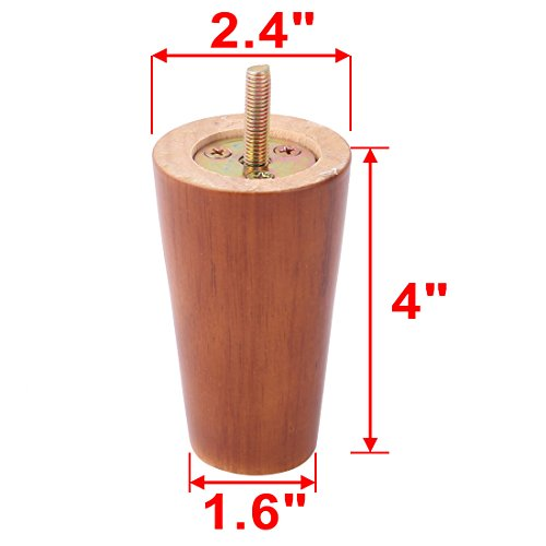 uxcell Furniture Sofa Leg 4 Inch, Round wooden Feet with Threaded Hanger M8 Bolt, Brown Color set of 4