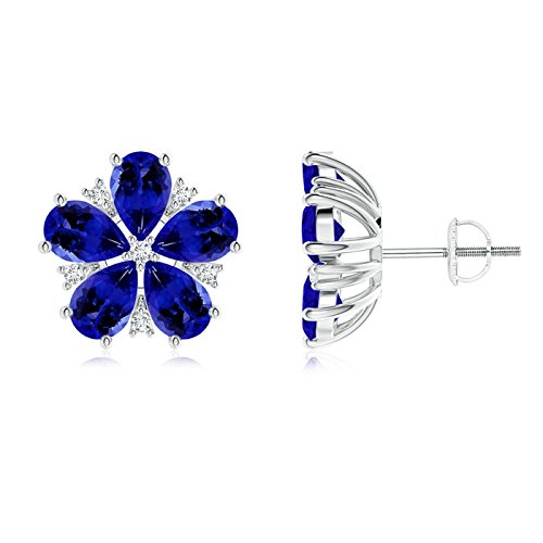 - Pear-Shaped Tanzanite and Diamond Flower Stud Earrings in Platinum (6x4mm Tanzanite)