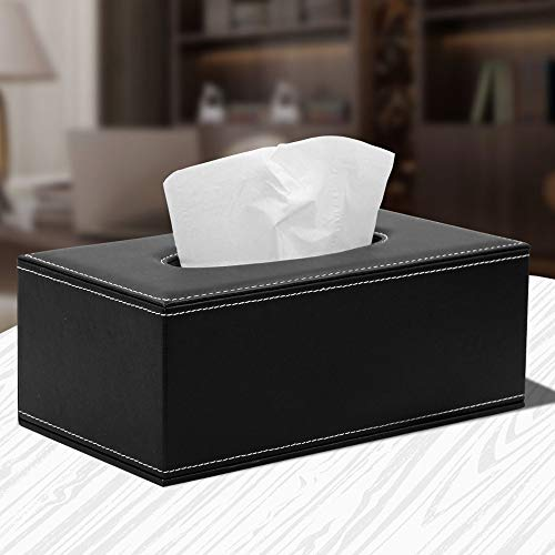 Euone ♛ Paper Leatherette, Car and Home Rectangle Faux Leather Case Paper Tissue Box Holder Black ()