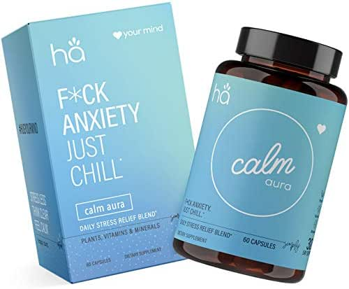Calm Aura - Daily Stress & Anxiety Relief with Mood Support Pills - Vegan Non-GMO - Natural Adaptogenic Blend - Ashwagandha, L-Theanine, Rhodiola, 5-HTP, GABA, Chamomile, Hawthorne, Zinc, Magnesium (
