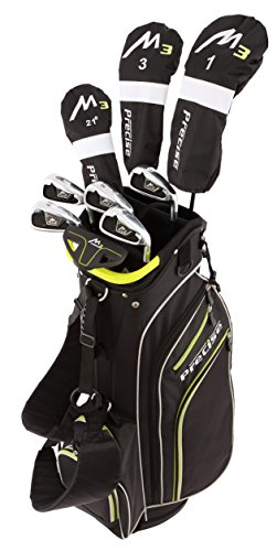 Precise M3 Men's Complete Golf Clubs Package Set Includes Driver, Fairway, Hybrid, 6-PW, Putter, Stand Bag, 3 H/C's - Right Handed - Regular or Tall Size (Blue - Regular, Right Handed)