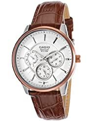 Casio Bem-302L-7Avdf Mens Beside Brown Genuine Leather Strap Silver-Tone Textured Dial Watch