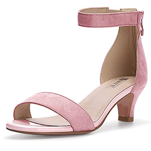 IDIFU Women's IN2 Slim Fashion Stilettos Ankle Strap Open Toe Pump Heeled Sandals Kitten Heel Party Shoes with Zipper (6.5 M US, Pink Suede)