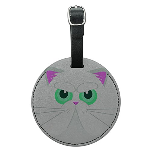 Graphics & More Persian Cat Face Round Leather Luggage Id Tag Suitcase Carry-on, - Cats With Round Faces