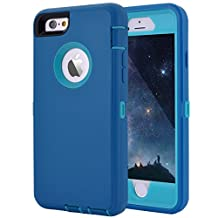 """iPhone 6 Plus/6S Plus Case, Crosstree Heavy Duty Shockproof Series Case for iPhone 6 Plus /6S Plus (5.5"""") with Built-in Screen Protector Compatible with all US Carriers (Teal/Lt Blue)"""