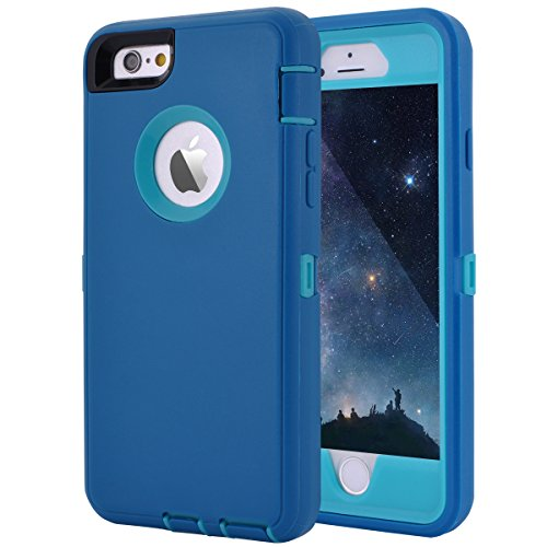 iPhone 6 Plus/6S Plus Case, Maxcury Heavy Duty Shockproof Series Case for iPhone 6 Plus /6S Plus (5.5) with Built-in Screen Protector Compatible with All US Carriers (Teal/Lt Blue)