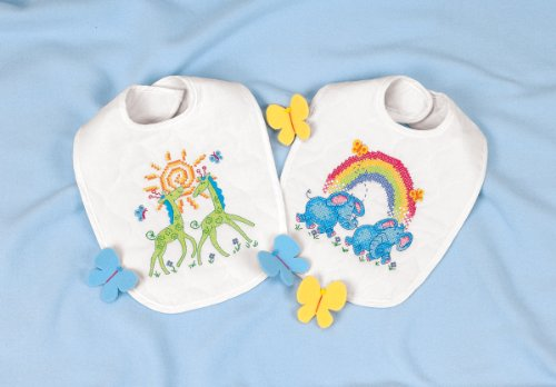 Dimensions Stamped Cross Stitch 'Noah's Ark' Elephant and Giraffe DIY Baby Bibs, 2 pc, 9