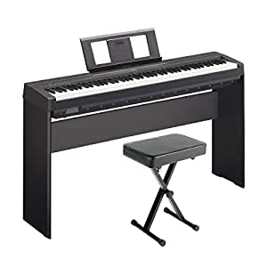 yamaha p71 digital piano amazon exclusive deluxe bundle with furniture stand and. Black Bedroom Furniture Sets. Home Design Ideas