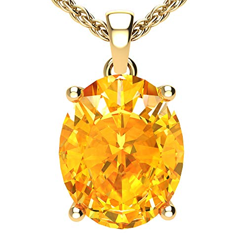 Belinda Jewelz Womens 14k Yellow Gold Oval Shape Cut Gemstone Rhodium Plated Sparkling Prong Real Sterling Silver Fine Jewelry Classic Chain Hanging Pendant Necklace, 2.34 Ct Citrine Yellow, 18 inch