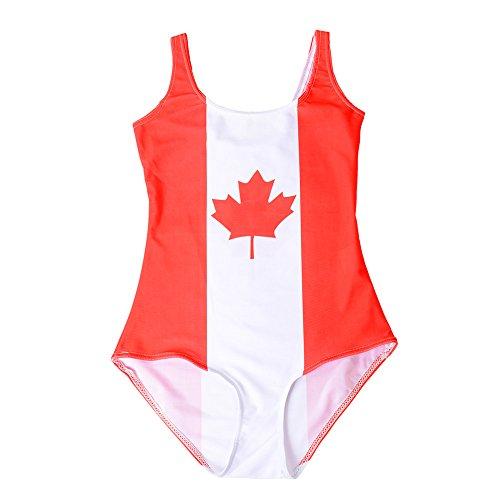 Kerio Sexy Women World Flags Canada Print Bikini Set Digital Bodysuit Beach Swimwear Fitness - Swimming Wetsuits Canada