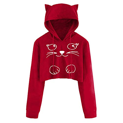 Minisoya Women Girls Casual Long Sleeve Cute Cat Kitty Printed Hoodies Blouse Shirt Hooded Crop Tops Pullover (Red2, Large)