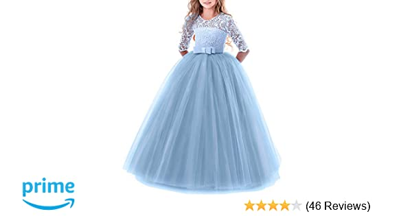 a6180aed1667 Amazon.com  IWEMEK Girls Tulle Lace Flower Wedding Bridesmaid Dress Floor  Length Princess Long A Line Pageant Formal Prom Dance Gown  Clothing