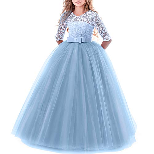 Toddler Girl's Embroidery Tulle Lace Maxi Flower Girl Wedding Bridesmaid Dress 3/4 Sleeve Long A Line Pageant Formal Prom Dance Evening Gowns Casual Holiday Party Dress Light Blue 3-4 -