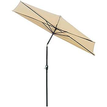 Yescom 9Ft Beige Outdoor Patio Half Umbrella Cafe Wall Balcony Door 5 Ribs  Tilt Aluminum Sun