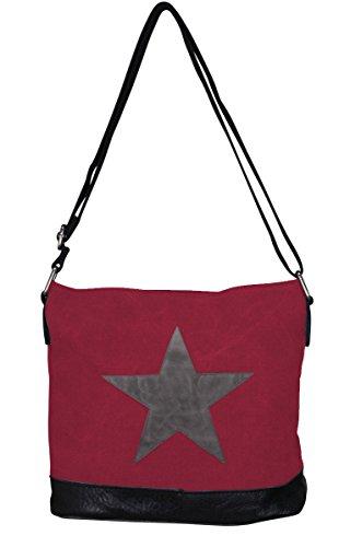 PiriModa - Bolso al hombro de Otra Piel para mujer Multicolor multicolor Modell 3 Bordeaux/Grau