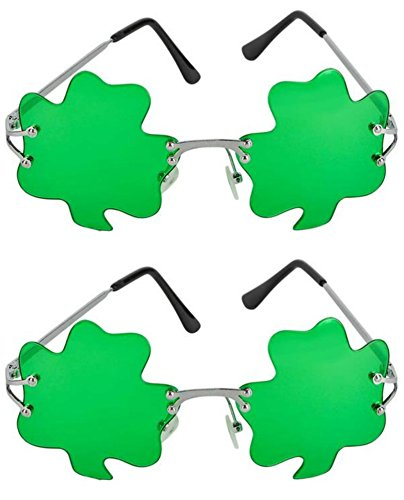 SK Novelty ST. Patricks Day Green Shamrock Irish Clover Metal Frame Sunglasses - 2 - Sunglasses Sk