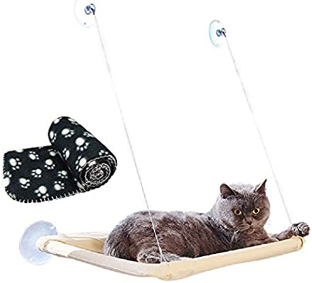 JZK Window mounted cat basking hammock + cat blanket, suction cup pet hanging bed and pet black blanket for cat perch