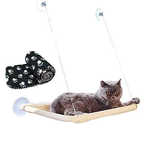 JZK Katzen Fensterplatz Window Lounger Katzen Hängematte + Katzendecke, Sonnenbad Katzenbett Haustierbett für Haustier…