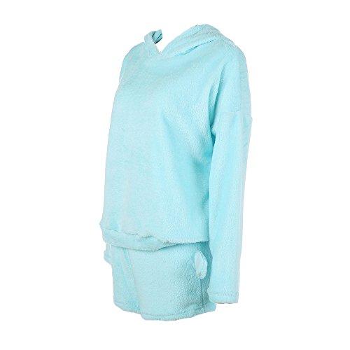 due Juleya vestito donna Shorts Cielo Sleepwear Outfit Cute velluto a Blu Winter di Cat di Pigiama cappuccio Pattern Set corallo pezzi Caldo Con da wrXwzx