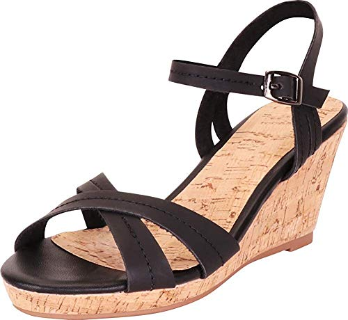 Harper Shoes Women's Platform Cork Wedge Sandal Crisscross Strappy Chunky, Black, 9 ()