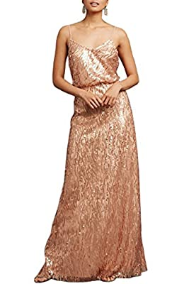 MARSEN Women's Sequins Halter Cross strap Long Chiffon Bridesmaid Prom Dress