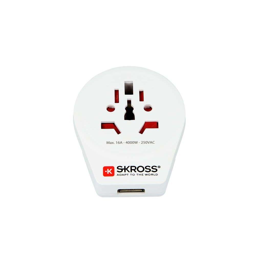 Skross World to Europe USB Travel Adaptor, White by Skross