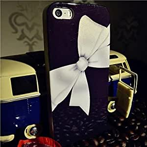 iPhone 5S Case, WKell Flash Powder TPU White Butterfly Knot Back Case for iPhone 5/5S