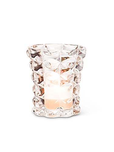 American Chateau Clear Glass Quilted Vase Tealite Candle Votive Holder 3.25