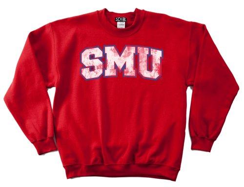 (NCAA SMU Mustangs 50/50 Blended 8-Ounce Vintage Arch Crewneck Sweatshirt, Medium, Red)