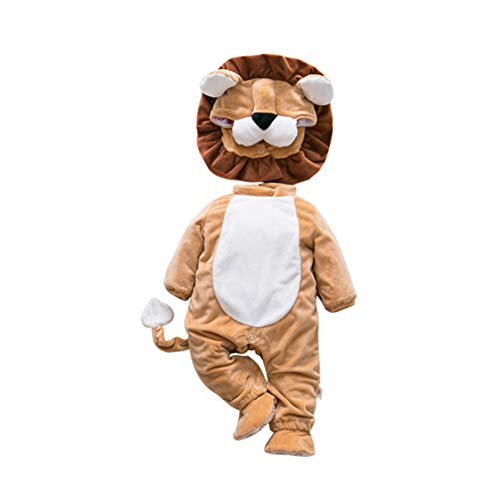 KKIING Christmas Flannel Baby Rompers Newborn Girls Boys Jumpsuit Autumn Winter Cute Lion Animal-Shaped Costume Clothes 3Set ,Romper + Shoese + Hat,Halloween Costume Animal Cosplay (90cm) -