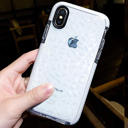 JAZ iPhone Xs Max Case Clear Soft Silicone Rubber Bumper Cushion Antio-Scratch Hybrid Transparent Case Cover for Apple iPhone Xs Max (2018) 6.5 inch (White, iPhone Xs Max 6.5)