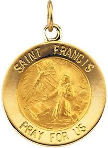 Francis of Assisi Medal 14k Yellow Gold Round St