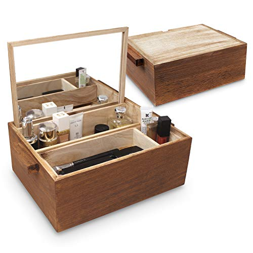 Ikee Design Wooden Jewelry Box, Cosmetic Organizer with Collapsible Mirror